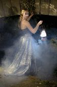 image of gothic girl  - Girl in gothic style with a lantern in his hand at the bridge  - JPG