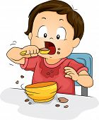 Illustration of a Young Boy Making a Mess While Eating His Food