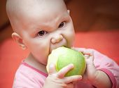 Funny Little Hungry Baby In A Pink Jacket Greedily Eats Green Juicy Apple