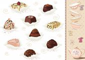 stock photo of bonbon  - Set of chocolate candies over white background - JPG