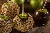Homemade Caramel Taffy Apple With Peanuts