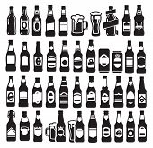 stock photo of vodka  - vector black beer bottles icons set on white - JPG