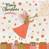 Stylish Christmas card in vector. Cute angel flying in the sky
