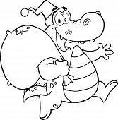 picture of gator  - Black and White Crocodile Santa Cartoon Character Running With Bag - JPG