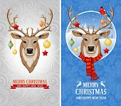 Christmas greeting cards with deer