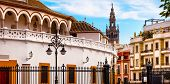 Bull Fight Ring Stadium Cityscape Giralda Spire Bell Tower, Seville Cathedral Andalusia Spain