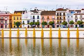 Houses Stores Restaurants Cityscape River Guadalquivr Morning Seville Andalusia Spain