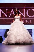 ZAGREB, CROATIA - OCTOBER 04: Fashion model wears dress made by Nancy on 'Wedding days' show, Octobe