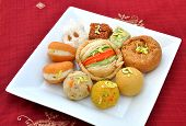 stock photo of laddu  - A group of delicious - JPG