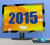 Two Thousand And Fifteen On Monitor Shows Year 2015