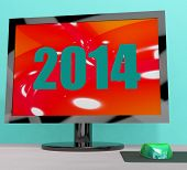Two Thousand And Fourteen On Monitor Shows Year 2014