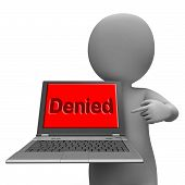 Denied Laptop Showing Denial Deny Decline Or Refusals