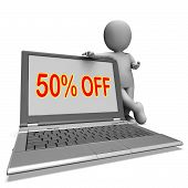Fifty Percent Off Monitor Means Deduction Or Sale Online