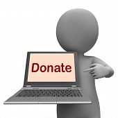Donate Laptop Shows Contribute Donations And Fundraising