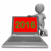 Two Thousand And Sixteen Character Laptop Shows Year 2016