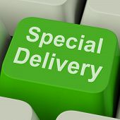 Special Delivery Key Shows Secure And Important Shipping