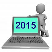 Two Thousand And Fifteen Character And Laptop Shows Year 2015