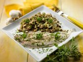 foto of sauteed  - sole fish with sauteed mushroom - JPG