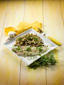 sole fish with sauteed mushroom