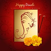 beautiful happy diwali design with lord ganesha