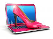 Women's laptop. High heel shoes on keyboard. 3d