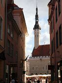 Old City, Tallinn, Estonia. A Weather Vane Old Thomas On The Town Hall Tower