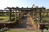 Slasto Paved Walkway Leading Through Sunken Gardens