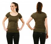 Woman Wearing Blank Olive Green Shirt