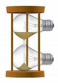 stock photo of sand timer  - Light bulb Sand timer symbolizing the  end of  incandescent  light bulb or time for idea  Vector illustration - JPG