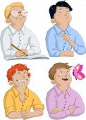 stock photo of passover  - Vector illustration of four boys asking questions for passover - JPG