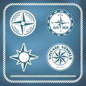 image of bordure  - Old vintage windrose compass labels and rope border - JPG