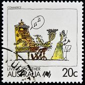 AUSTRALIA - CIRCA 1988: A stamp printed in Australia shows Living Together celebrating commerce