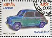 SPAIN - CIRCA 2012: Stamps printed in Spain dedicated to classic car shows Seat 600 1957 circa 2012