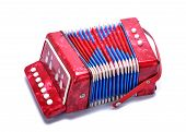 stock photo of accordion  - Photo of a red accordion isolated on white - JPG