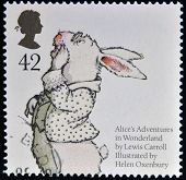 stamp dedicated to animal tales shows White Rabbit from Lewis Caroll's 'Alice's Adventures in Wonder