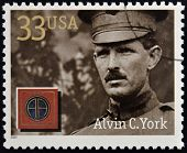 Stamps printed in USA dedicated to Military or Armed Forces shows Alvin Cullum York
