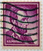 A stamp printed in USA shows portrait of President Abraham Lincoln