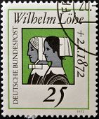 GERMANY - CIRCA 1972: stamp printed in Germany dedicated to Wilhelm Lohe founder of the Deaconesses