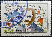 BRAZIL - CIRCA 1982: A stamp printed in Brazil dedicated to Book Day shows Bastos Tigre circa 1982