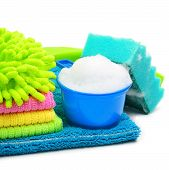 picture of suds  - Foam suds sponge microfibre towels napkins isolated on white - JPG