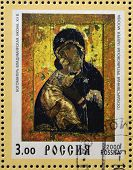 RUSSIA - 2000: Stamp printed in Russia shows Our Lady Vladimirskaya icon