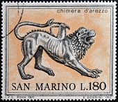 SAN MARINO - CIRCA 1971: A stamp printed in San Marino dedicated to ancient Etruscans shows Chimera