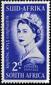 SOUTH AFRICA - CIRCA 1953: A stamp printed in South shows Queen Elizabeth II