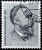 SWITZERLAND - CIRCA 1974: stamp printed in Switzerland shows Heinrich von Stephan circa 1974