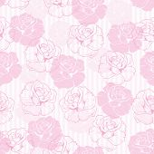Seamless retro vector floral pattern with elegant pink roses on pink and white stripes background