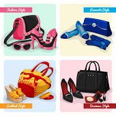 foto of ankle shoes  - Set of women luxury bags shoes and accessories in fashion cocktail romantic and business style isolated vector illustration - JPG