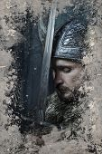 Viking warrior with helmet over vintage textured background