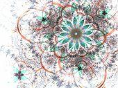 Colorful Fractal Flower White Background