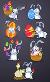 Easter rabbits with Easter eggs