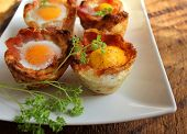 Breakfast - fried egg with bacon